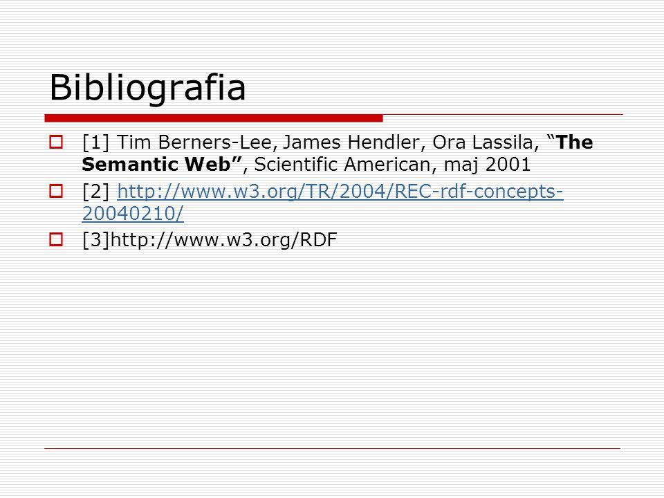 Bibliografia[1] Tim Berners-Lee, James Hendler, Ora Lassila, The Semantic Web , Scientific American, maj 2001.